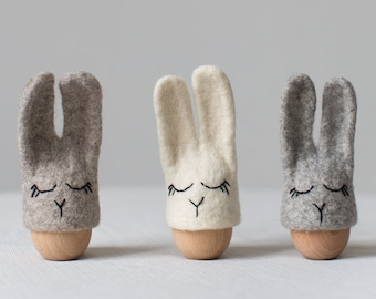Easter table decor - Set of three felted bunny egg xozies in neutral colors - Centerpiece handmade by Vaida Petreikis