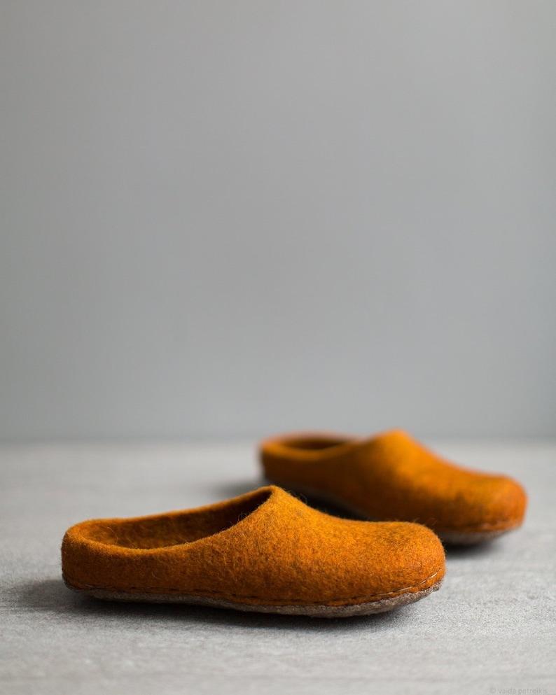 Burnt orange slippers for women  Pumpkin orange felted wool image 0