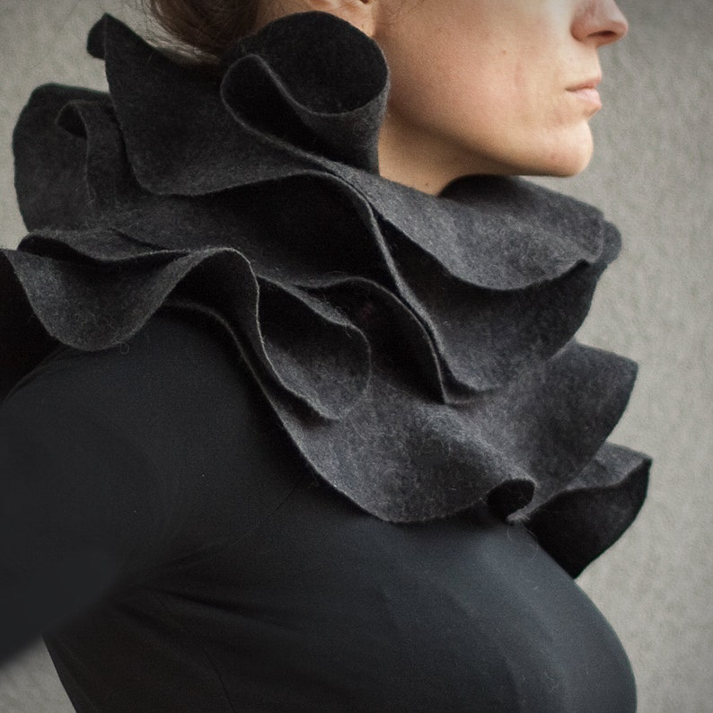 Elegant statement ruffle scarf  Sculptural charcoal grey nuno image 0