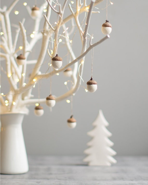 Etsy Christmas Ornaments.White Christmas Ornaments Felted Acorn Decorations Set Of 6 Magic Forest Woodland Party Favors Coworker Gift Idea By Vaida Petreikis