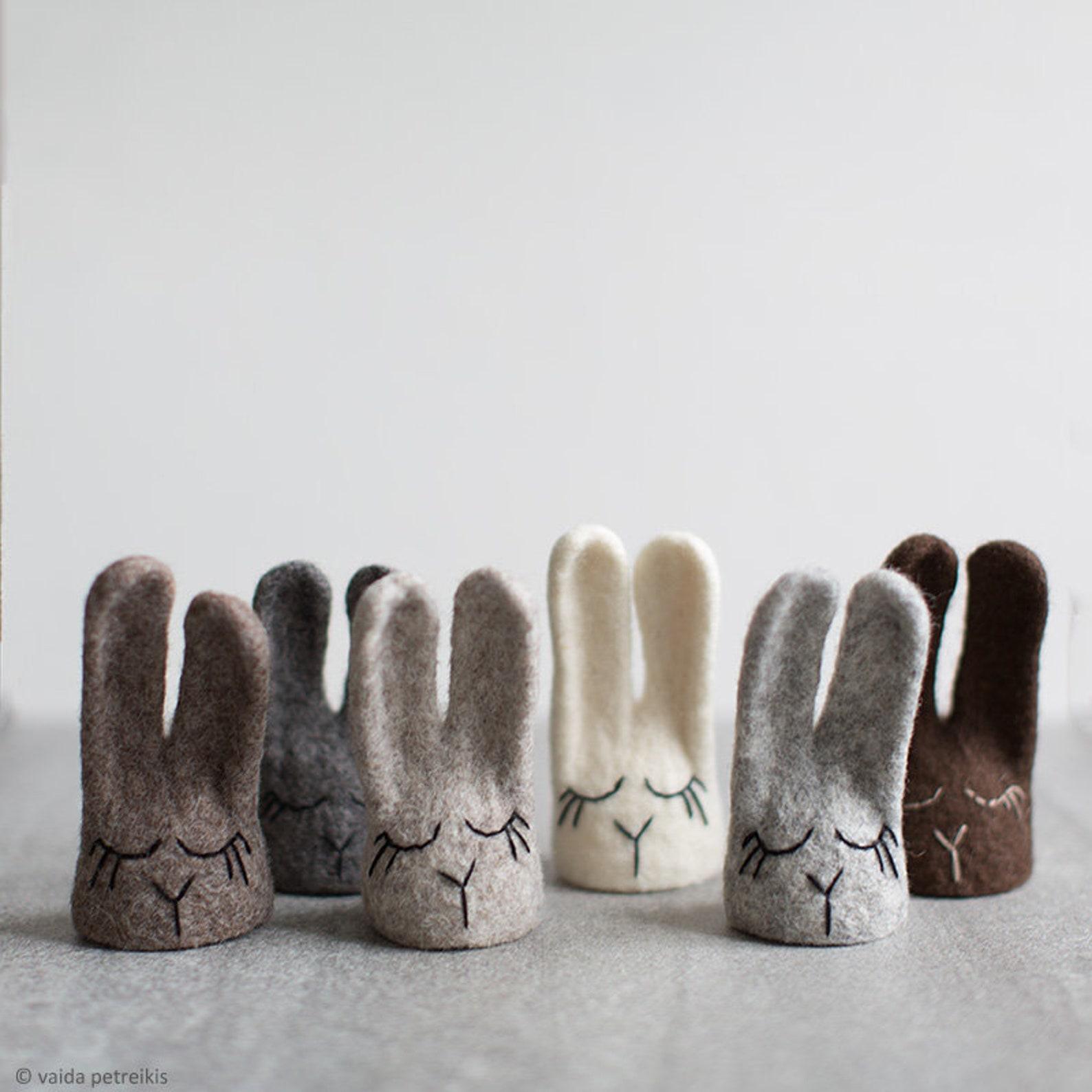 Woolen Easter Bunny Egg Cozies in Neutral Colors