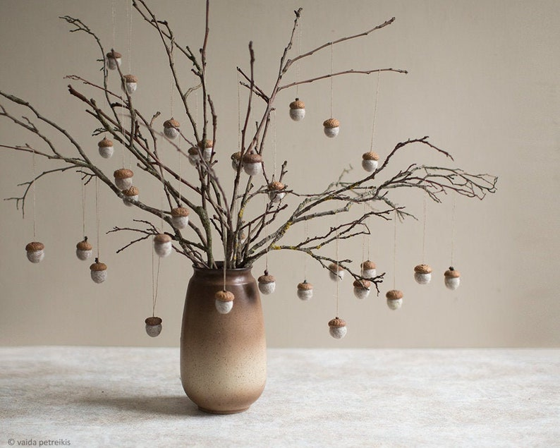 Felted acorn ornaments Set of 6 natural beige rustic holiday image 1