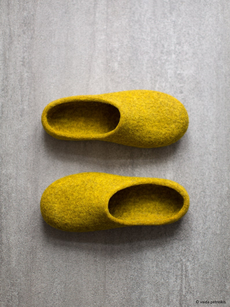 Yellow slippers Women slippers Felted clogs Mustard yellow image 0