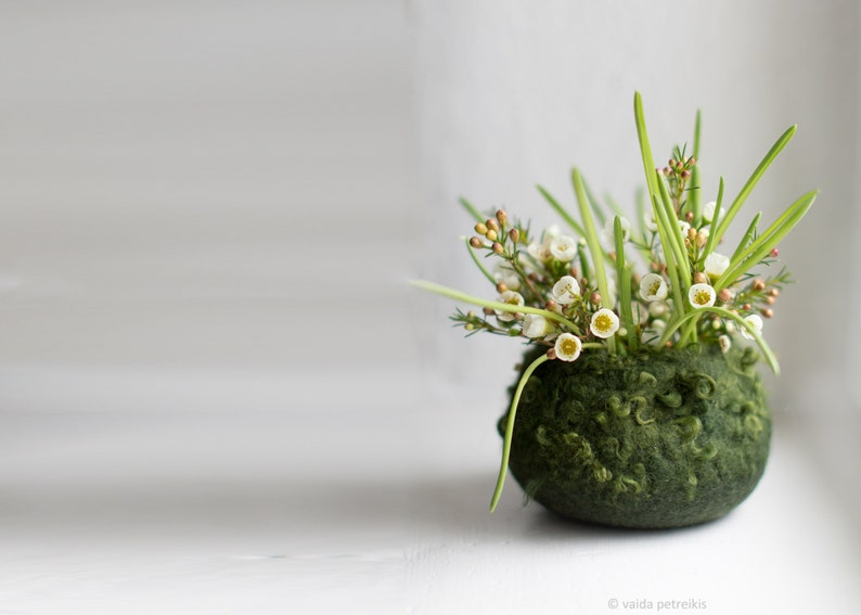 Felted bowl  Hygge home decor  Mossy green spring nature image 0