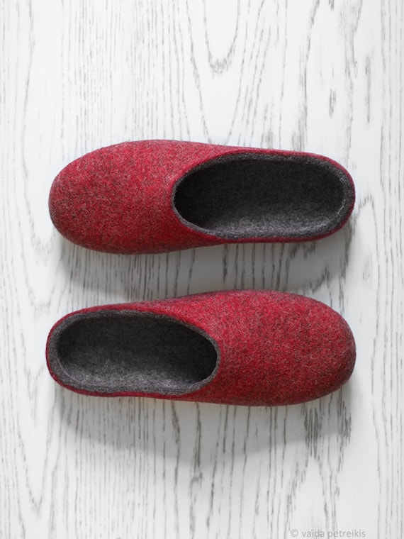Husband Gift Wool Slippers Minimalist Rustic Style Felted Etsy