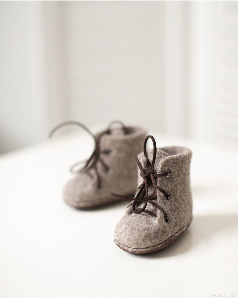 64025048a5e19 Felted Baby Shoes from Natural Organic Greyish Brown Wool with Nonslip  Upcycled Leather Soles - Unisex Newborn Booties