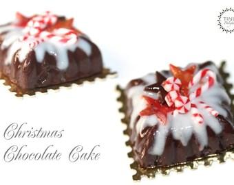 Christmas Chocolate Cake - UNIQUE - 1/2 handmade miniature