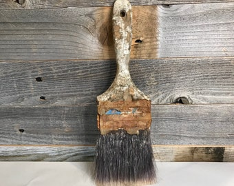 Vintage PAINTBRUSH Grungy- Used Primitive- Farmhouse Style Paint Brush Found Object- Recycle Upcycle- J28