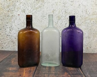 Antique Bottles -Purple Glass- Brown- Large Bottles- Vases- Vintage Farmhouse Wedding Decor- R91
