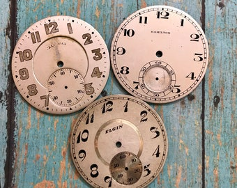 Vintage Metal POCKET Watch Faces (3) for Steampunk and Altered Art- Elgin- Numbers- Watch Dials- D15
