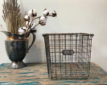 Vintage WIRE BASKET- Locker Basket Industrial- Shabby Chic Decor- Number 56 Primitive Storage Bin- Farmhouse Kitchen Gym School Locker