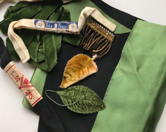 Vintage Fabric Ribbon and Trim Sewing Notions Black and Green Velvet Satin Craft Sewing Project Mixed Media Fiber Arts Supply