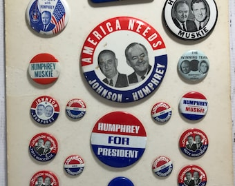 f29d09096a3 Vintage Political Pins- Presidential Pin Memorabilia- Johnson Humphrey  Muskie Election Advertising Pin Politician Blue Red- S16