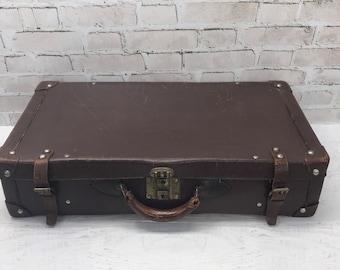 Vintage Leather Suitcase- Large Luggage- Worn Distressed Patina- Old Suitcase- Travel Bag