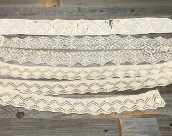 Vintage LACE- Sewing Notions- Cream Colored- Off White- Craft Sewing Project Mixed Media Fiber Arts Supply