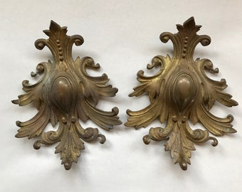 Vintage Salvaged HARDWARE (1) Architectural Salvage- Large Ornamental Hardware Part- Gold Brass Distressed Patina