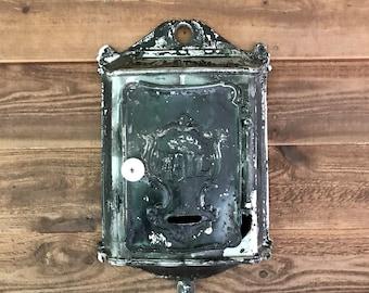 Vintage Black Metal MAILBOX- House Postal Delivery- Victorian Letter Box- Mail Box Vintage Rustic Decor- Cast Iron Antique Mailbox