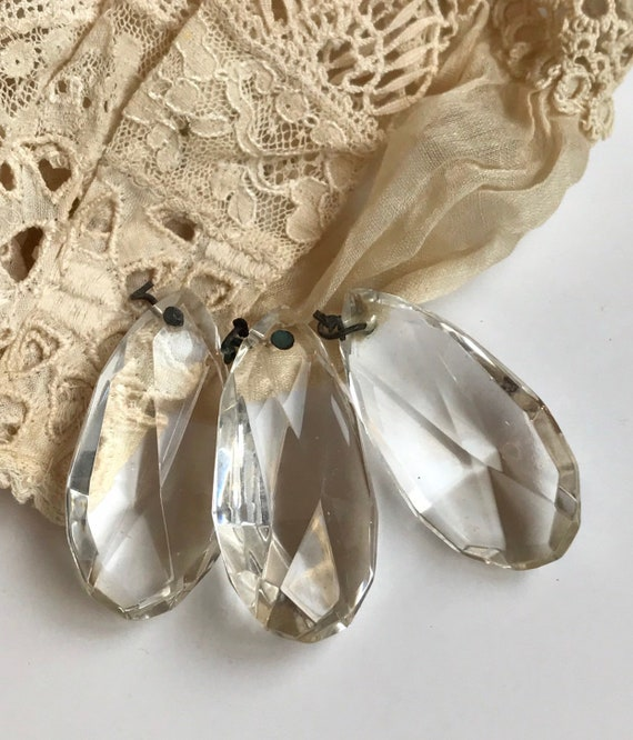 Chandelier Crystals Prism Icicle 2 Pieces Vintage 3 Inches