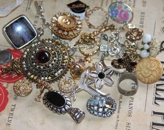 Jewelry Lot Rhinestones Brooches Charm bracelet
