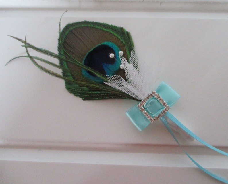 Peacock Feather Boutonniere with Rhinestone Accent