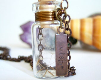 Glass Vial Necklace Glass Bottle Necklace  Make a Wish Necklace with Dandelion Seeds Antique Brass