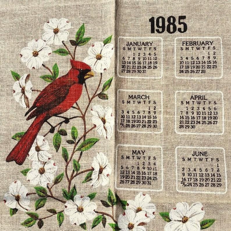 1985 Calendar.1985 Calendar Towel Cardinals In Dogwood Trees Oatmeal Linen Dish Towel Kay Dee R Bachelder Unused