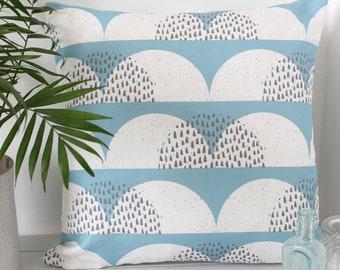 Cloud Print Cushion Cover Pale Blue White 'Cumulus' Pillow Sham