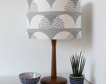 Grey and White Cumulus Cloud Print Fabric Lampshade Scandi Fabric Drum Light Shade