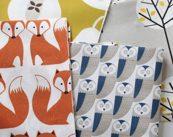 Fabric Pack - Scandi Owl Fox Mustard Pear and Grey Moonlight Tree Sewing Craft Textiles Linen Cotton - Box 4
