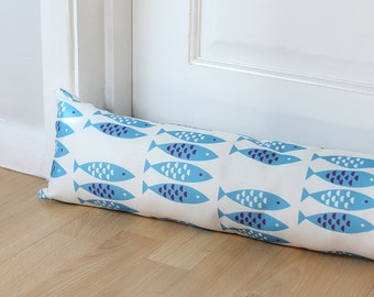 Draught Excluder Newlyn Fish Blue Patterned Fabric Scandi Home Coastal Animal Print Kids Long Long