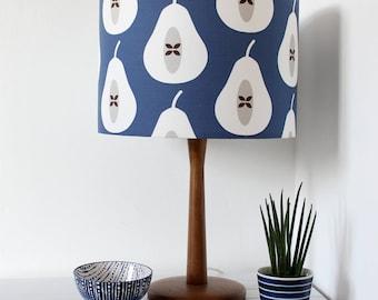 Ink Blue Pear Print Fabric Drum Lamp Shade Lighting Light Shade