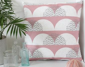 Cloud Print Cushion Cover Pale Pink White 'Cumulus' Pillow Sham