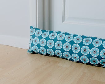 Draught Excluder Daisy Patterned Teal Blue Floral Print Scandi Fabric Home Decor Retro Style