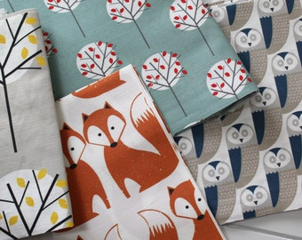 Fabric Pack - Scandi Woodland Fox, Owl, Green and Grey Moonlight Tree Sewing Craft Textiles Linen Cotton