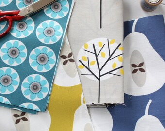Fabric Pack - Scandi Fabrics Daisy, Pear in Blue and Mustard, and Grey Moonlight Tree Linen Cotton - Box 5