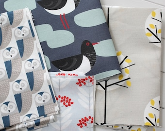 Fabric Pack - Scandi Fabrics Oystercatcher, Owl, Grey Moonlight Tree and Elderberry Linen Cotton - Box 3