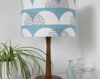 Pale Blue and White Cumulus Cloud Print Fabric Lampshade Scandi Fabric Drum Light Shade