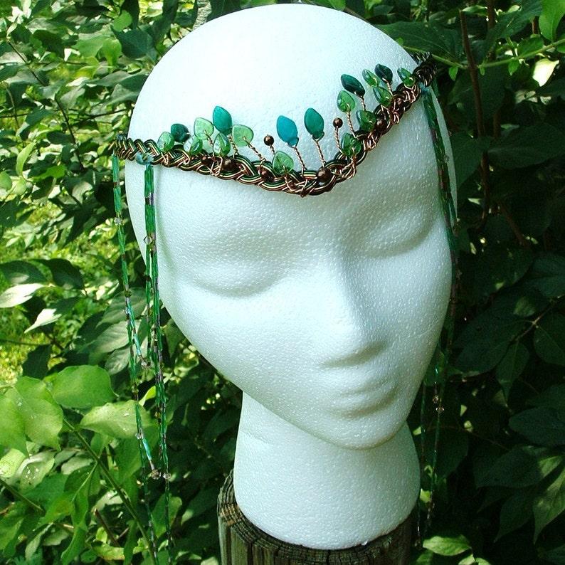 Boho Wedding Headdress Elven Woodland Head Piece Tribal Dance Art Nouveau Headpiece Beaded Gypsy Hair Chain Art Nouveau Festival Style