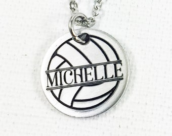 Personalized Volleyball Necklace, Volleyball Name Charm, Gift for Volleyball Player, Volleyball Coach Gift, Volleyball Gift