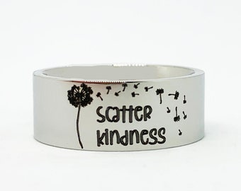 Scatter Kindness Ring, Engraved Stainless Steel Dandelion Ring, Inspirational Positive Quote Ring