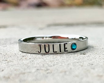 Birthstone Stacking Name Ring, Personalized Stackable Ring for Mom, Custom Hand Stamped Silver Stainless Steel Stacking Ring