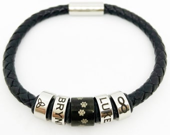 Personalized Leather Bracelet for Men, Women, Custom Engraved Stainless Steel Charm Beads with Name, Date, or Design