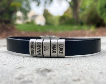 Personalized Mens Leather Bracelet with Custom Stainless Steel Slider Beads with Name, Date, or Design