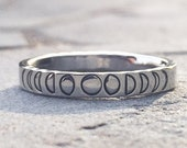 Phases of the Moon Stacking Ring, Hand Stamped Silver Stainless Steel Stackable Ring, Celestial Jewelry