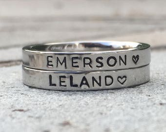 Stacking Name Ring, Personalized Stackable Ring for Mom, Custom Hand Stamped Silver Stainless Steel Stacking Ring, Listing is for ONE RING