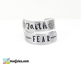 Faith Over Fear Ring, Faith Ring, Hand Stamped Twist Wrap Ring, Religious Ring, Inspirational Ring, Have Faith Jewelry, Christian Ring