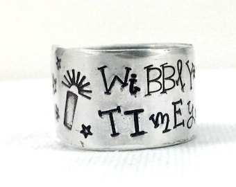 Dr Who Ring, Wibbly Wobbly Timey Wimey, Police Call Box, Unisex Dr Who Gift, Hand Stamped Dr Who Quote Jewelry, Geekery, Time Lord