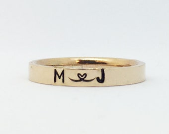 Rose Gold Stacking Ring, Personalized Name Ring, Custom Hand Stamped Stainless Steel Ring, Initials Ring, Monogram Ring, Mom Ring,