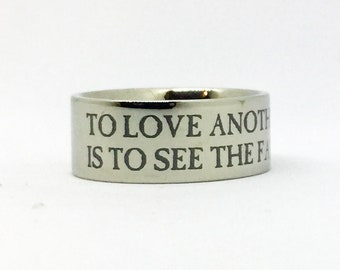 Les Miserables Ring, To Love Another Person Is To See The Face of God Engraved Ring