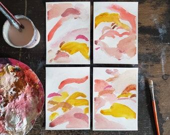 Abstract Painting - Original Artwork, Pink Yellow 5x7, Abstract Original Art, Gallery Wall Decor
